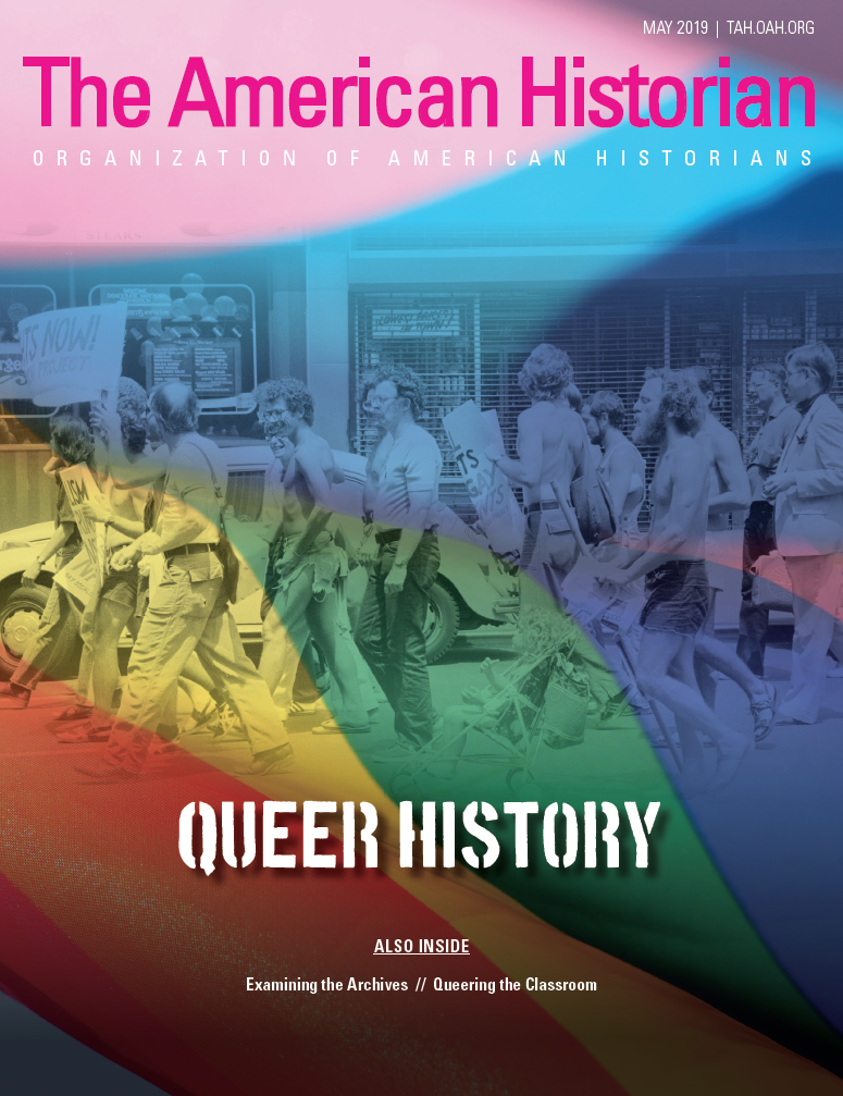 Cover image with link to The American Historian issue for Queer History