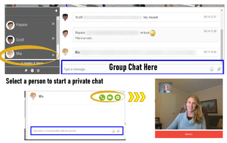 Image showing the chat feature in the platform, including group chat or private messaging.