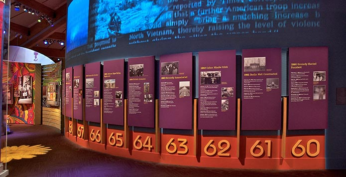 An image from inside a museum featuring panels that detail a timeline of the 1960's