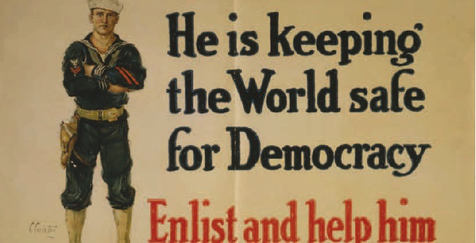 WWI Propaganda featuring a male soldier and the phrase