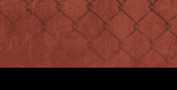 An image of a chain link fence with a washed over red background
