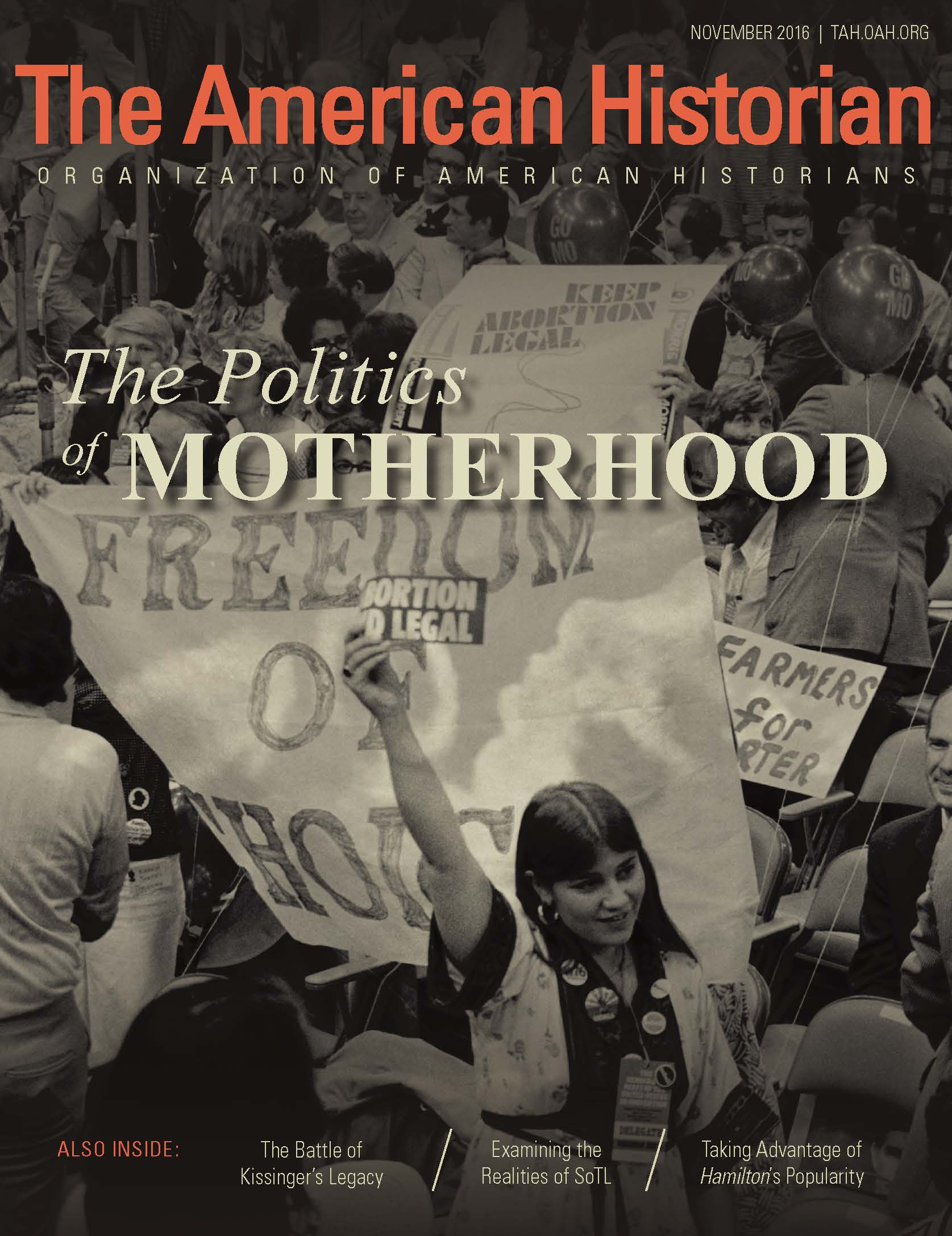 Cover image with link to The American Historian issue for The Politics of Motherhood