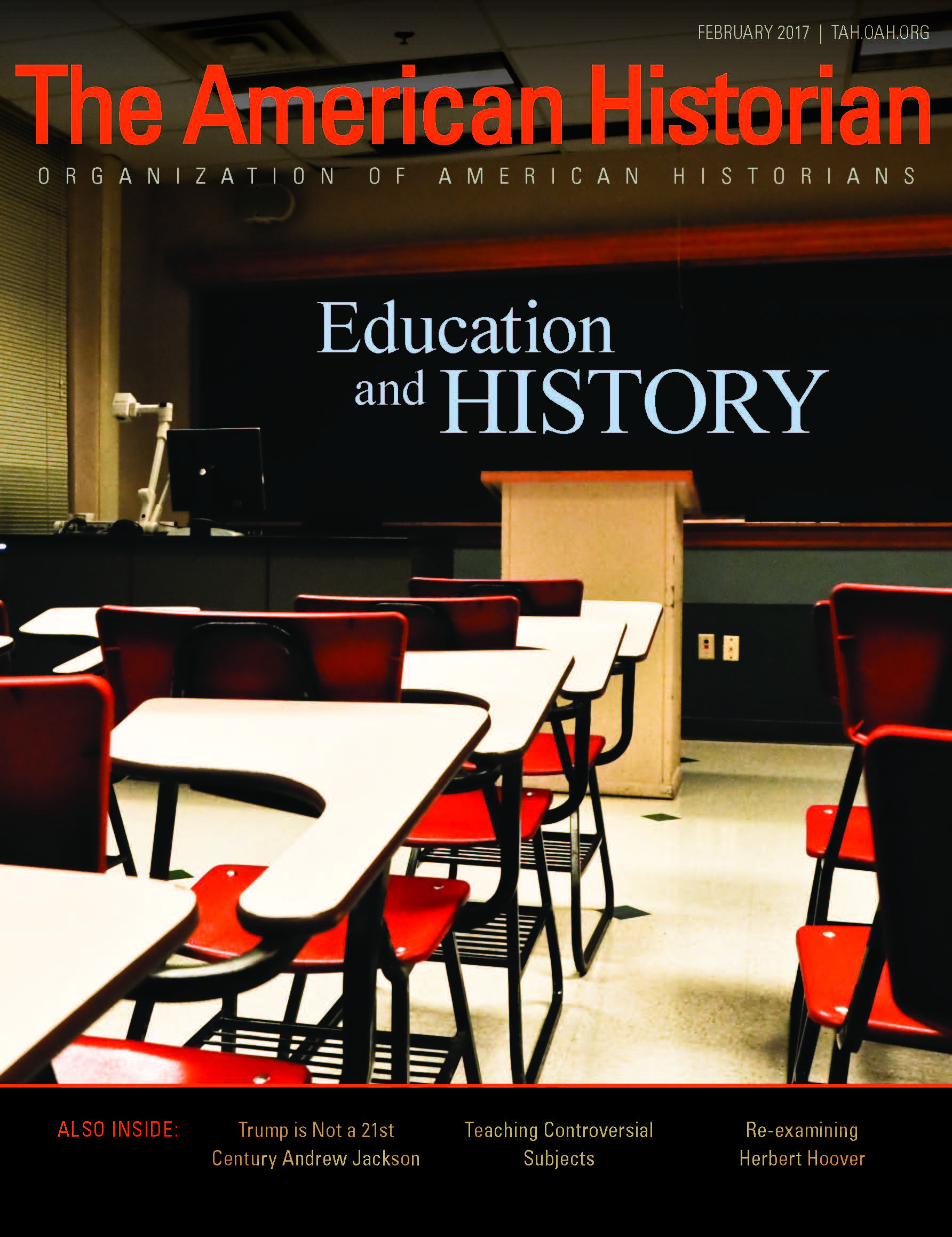 Cover image with link to The American Historian issue for Education and History