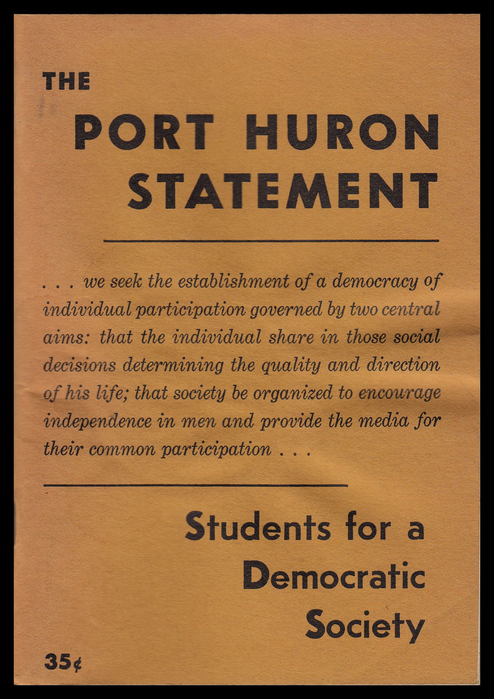 A photograph of the Port Huron Statement by the Students for a Democratic Society