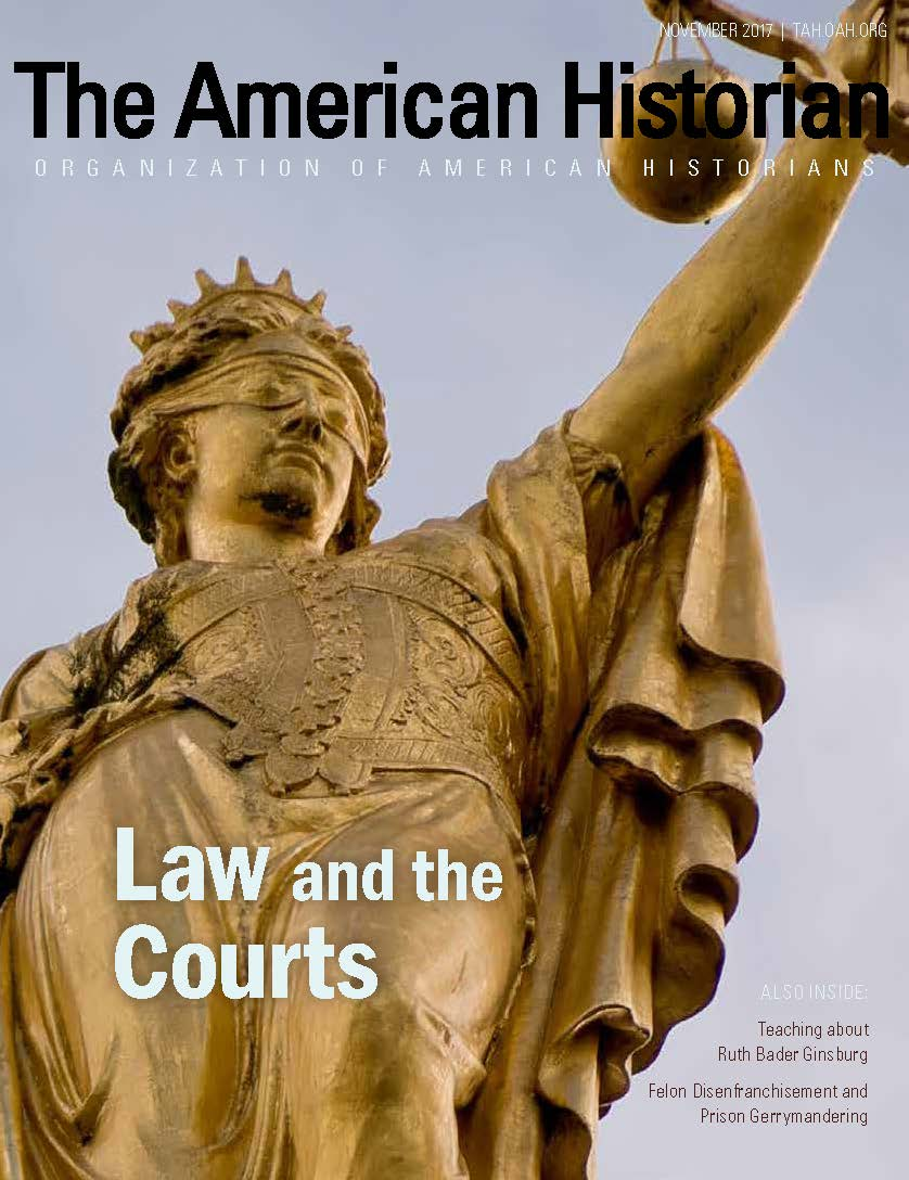 Cover image with link to The American Historian issue for Law and the Courts