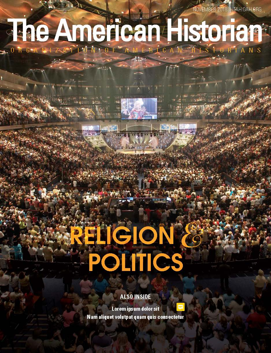 Cover image with link to The American Historian issue for Religion and Politics