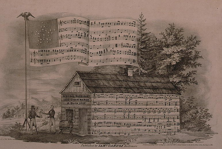 a drawing of a house and an American flag where the stripes have been replaced with sheet music that is also on the house.