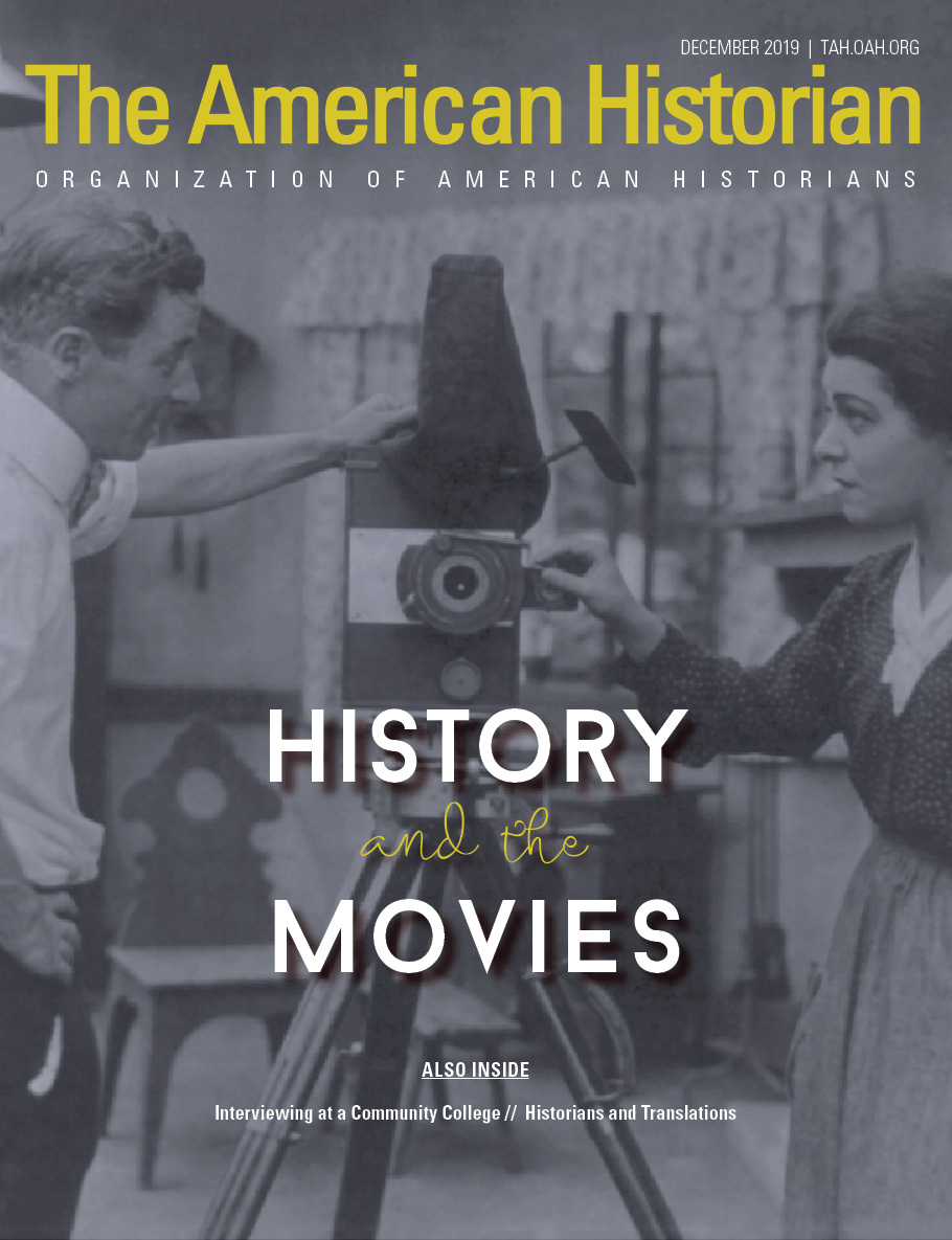 Cover image with link to The American Historian issue for History and the Movies