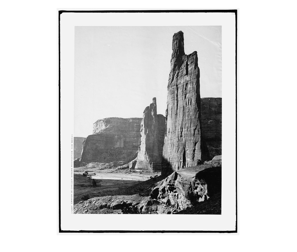Picture of the Canyon de Chelly on the Navaho Reservation. Picture 2: A map of Hawaii and its National Parks.