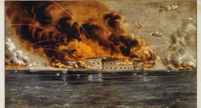 An 1861 lithograph of Fort Sumter being shelled by battleships