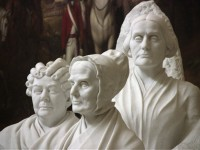 Three marble statues of Lucretia Mott, Elizabeth Cady Stanton, and Susan B. Anthony