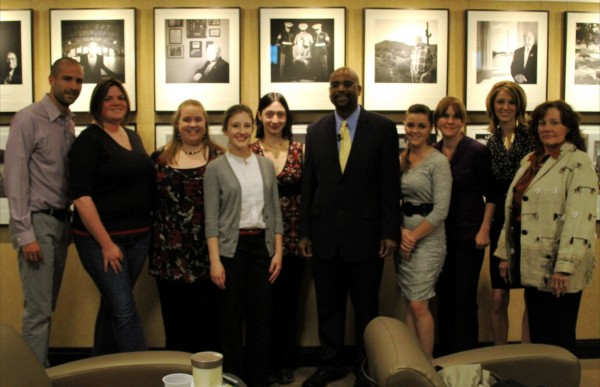 OAH Distinguished Lecturer Robert F. Jefferson Jr. standing with students at Colorado State University-Pueblo.