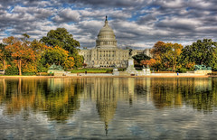 The reflecting pool in Washington, D.C. with the Capitol Building in the background