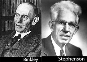 Two black-and-white photographs of William Binkley and Wendell Stephenson combined