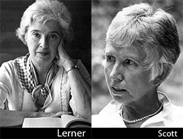 Two black and white photographs of Gerda Lerner and Anne Firor Scott