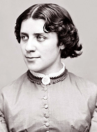 Black and white photograph of Anna Elizabeth Dickinson