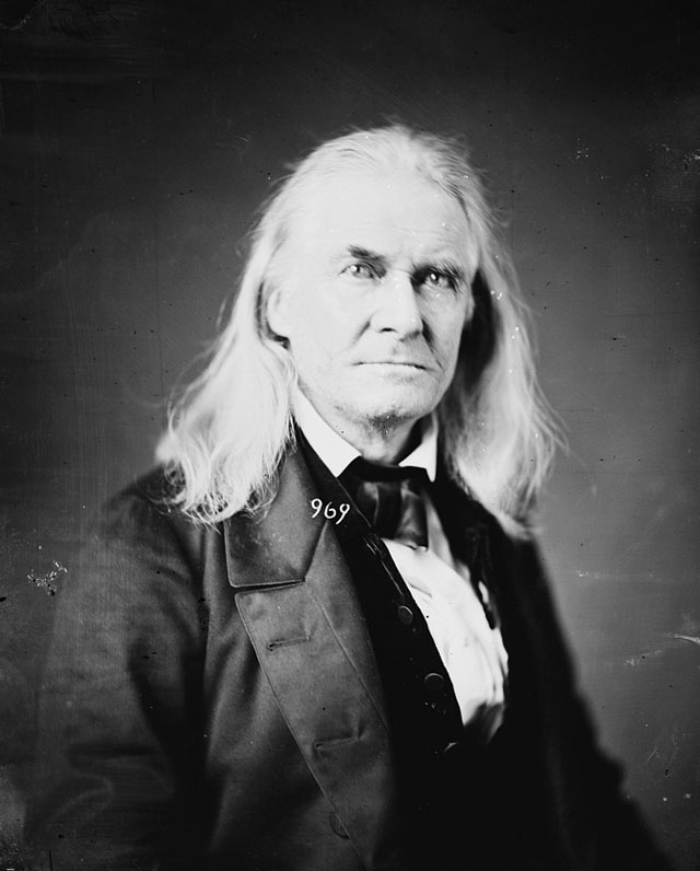 An 1860 photograph of an older man with long white hair